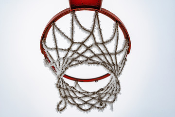Basketball net covered in snow. Frozen basket.