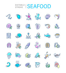 Vector icon and logo for seafood restaurant or cafe