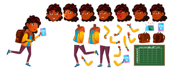 Indian Girl School Kid Vector. Primary School Child. Animation Creation Set. Face Emotions, Gestures. Student. Hindu. Asian. Placard Design. Animated. Isolated Cartoon Illustration