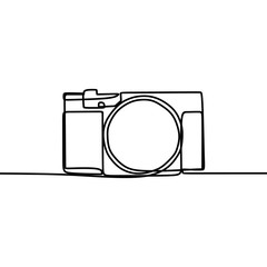 Digital camera with single one line art drawing vector illustration.