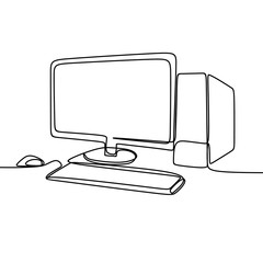 Computer and monitor vector with one continuous single line art drawing. Minimalist lineart isolated on white background.
