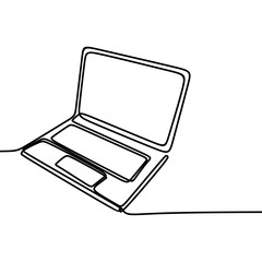 Continuous line drawing with laptop. single one hand drawn style minimalist look.