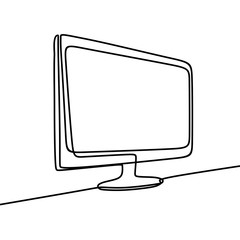 vector monitor hand drawn continuous single line drawing