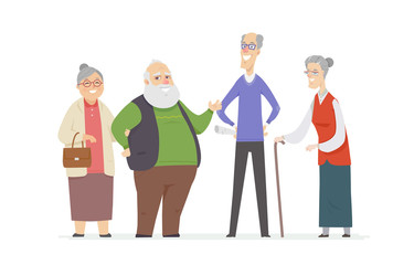 Cheerful senior people - set of cartoon characters