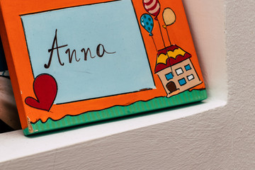 Colored wooden plaque