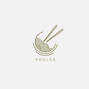 Vector icon and logo for italian pasta or noodles