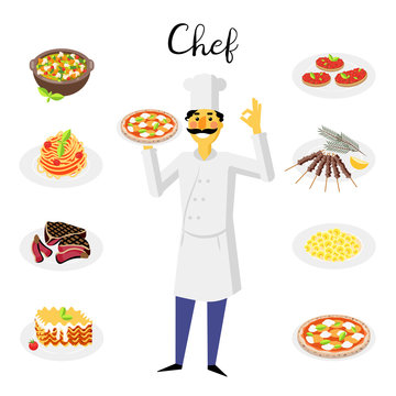 Vector illustration. Set icons of traditional italian food. Cute cook with pizza margarita.