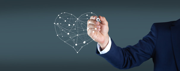 man hand heart sign