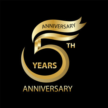 golden 5th anniversary sign and logo for gold celebration symbol