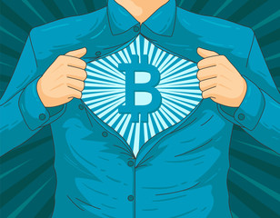 Male blockchain BTC hero vector illustration