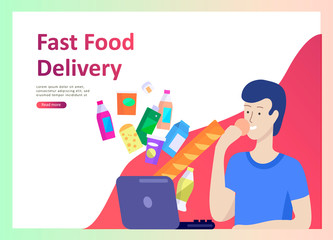 Landing page templates with people which Cooking healthy food, simple recipes, how to choose products in the supermarket, food delivery and fast food