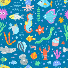 Cute sea creatures and fishes underwater wildlife vector pattern. Seamless background