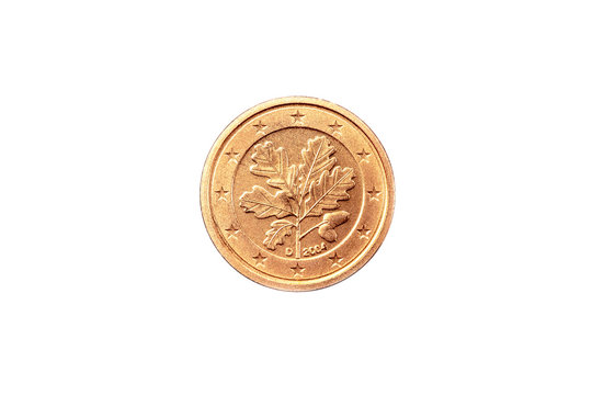 Euro Münze 2004 Deutschland 1 Cent Rückseite auf weißem Hintergrund