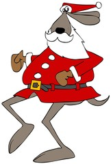 Santa dog on the run