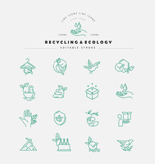 Vector icon and logo for environmental protection and recycling. Editable outline stroke size. Line flat contour, thin and linear design. Simple icons. Concept illustration. Sign, symbol, element.