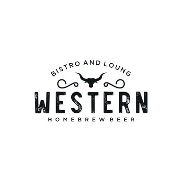 Vintage Country Emblem Typography for Western Bar/Restaurant Logo design inspiration - Vector