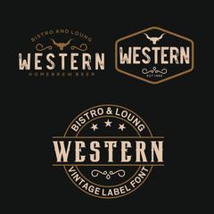 Vintage Country Emblem Typography for Western Bar/Restaurant Logo design inspiration - Vector