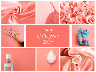 Beautiful collage with living coral color. Stylish design