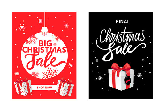 Christmas Sale, Shop Now Leaflets with Lettering