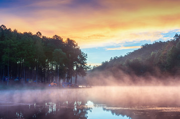 Wall Mural - Beautiful morning at Pang Ung lake, Pang Ung Mae Hong Son province in Thailand.
