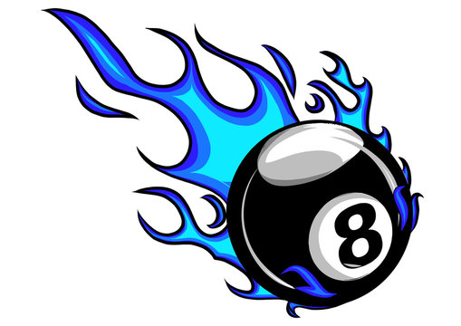 Flaming Billiards Eight Ball