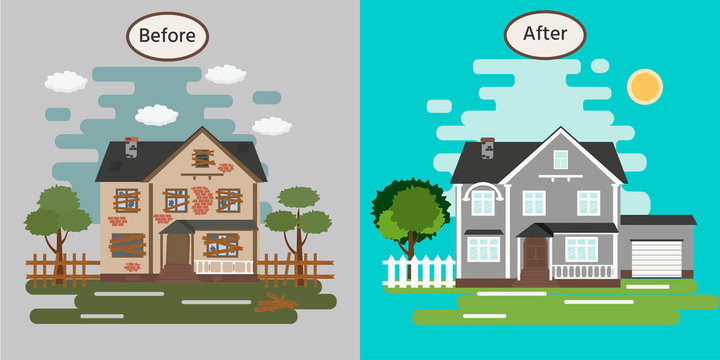 House before and after repair. Old run-down home. Renovation building. Vector illustration.