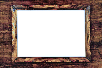 brown strict wooden frame passepartout on white background,