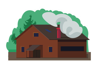 vector illustration of house and trees