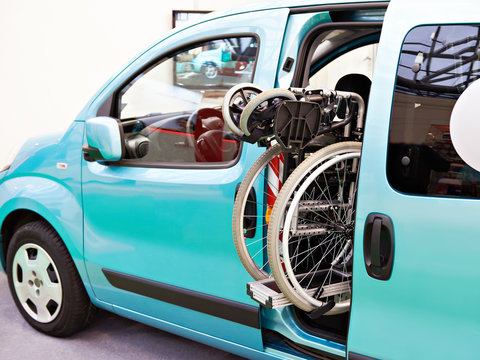 Wheelchair folded in car