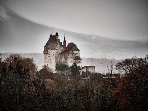 Shot of the Chateau Menthon Saint Bernard, a historical castle near Annecy