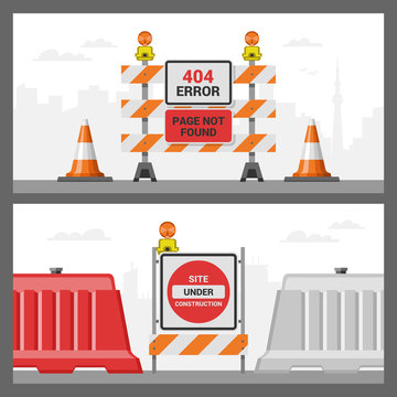 Error 404 page vector internet problem web warning message webpage not found illustration set of erroneous website failure roadwork backdrop alert site is broken service information road background