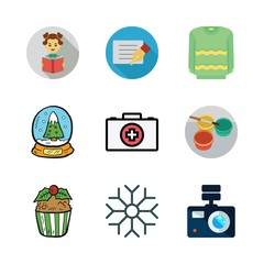 space icon set. vector set about card, pullover, watercolor and photo camera icons set.