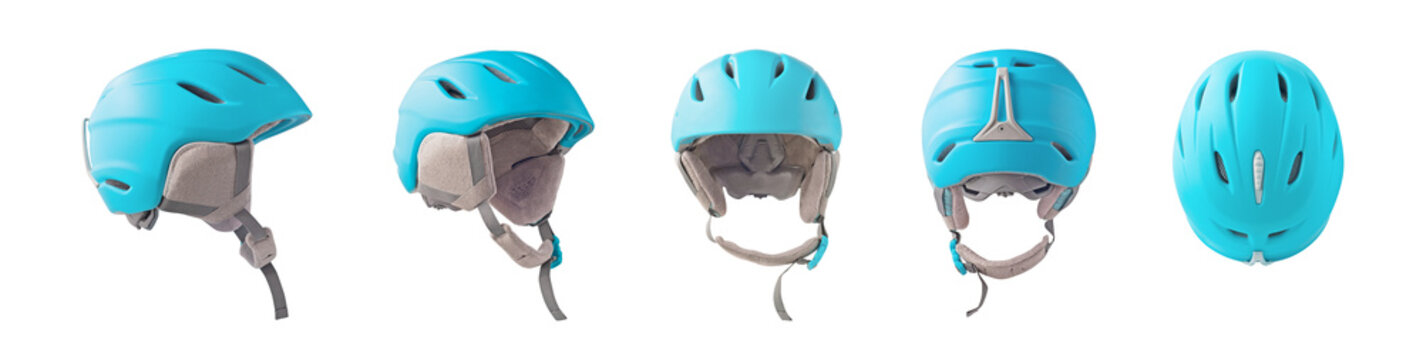 Set of front, back and side view of blue ski or snowboard helmet isolated on white background. Winter sport equipment