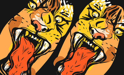 Hand drawn vector abstract graphic freehand textured sketch ink drawing of tigers faces in orange colors collage isolated on black background