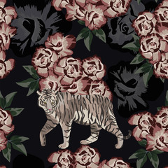 Moonlight chinese tiger on the rose background