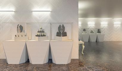 Progetto per un ampio negozio di gioielleria, con teche per preziosi, oro e gioielli, illustrazione 3d