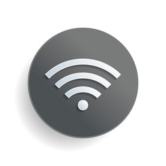 wi-fi icon. White paper symbol on gray round button with shadow