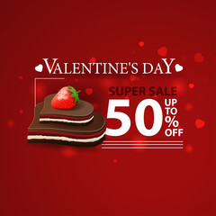 Discount red banner for Valentine's Day with chocolate candy