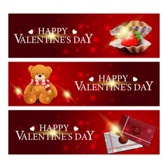 Three red greeting banners for Valentine's Day with pearl shell, love letters and Teddy bear