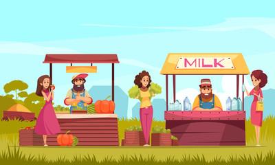 Farm Market Cartoon Illustration