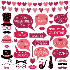 Valentines Day photo booth props (hats, lips, mustaches) and speech bubbles