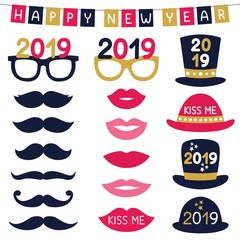 New Year party photo booth props (hats, eyeglasses, lips, mustaches)