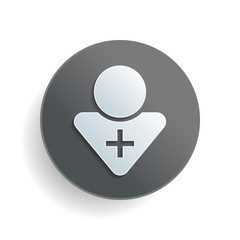 doctor, person with medical cross. White paper symbol on gray round button or badge with shadow