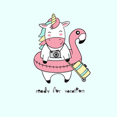 Vector illustration of cute cartoon unicorn with inflatable flamingo for swimming pool, suitcase, camera, lettering ready for vacation isolated on empty green background, handwritten,