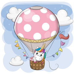 Cute Unicorn is flying on a hot air balloon