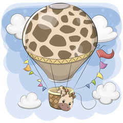 Cute Giraffe is flying on a hot air balloon