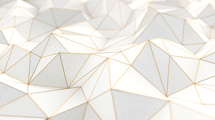 Low-poly white background 3d with golden lines