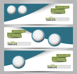 Banner template. Abstract background for design,  business, education, advertisement. Green and blue color. Vector  illustration.