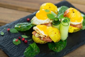 Potato burgers with quail egg