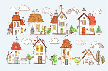 Cute colored doodle houses on white background. Vector illustration